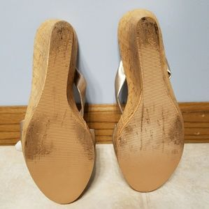 Candie's Shoes - Candie's Golden/Nude Wedge Sandle - Size 10